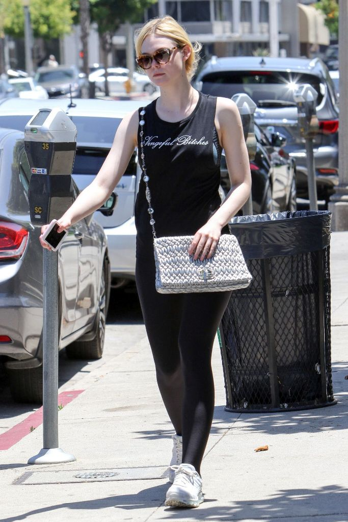 "Elle Fanning in a ""Vengeful Bitches"" Black Top Style Out in LA"