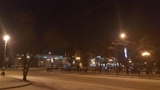 Ночной сквер в Иркутске