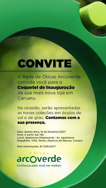 Nova loja das Óticas Arcoverde será inaugurada quita-feira em Caruaru f0556ade4d