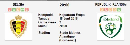 Prediksi Bola Belgia vs Republik Irlandia 18 Juni 2016