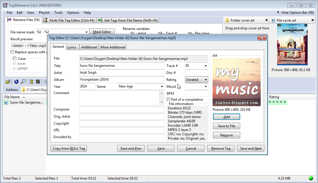 Changing the album art and other tags of an mp3 file 4