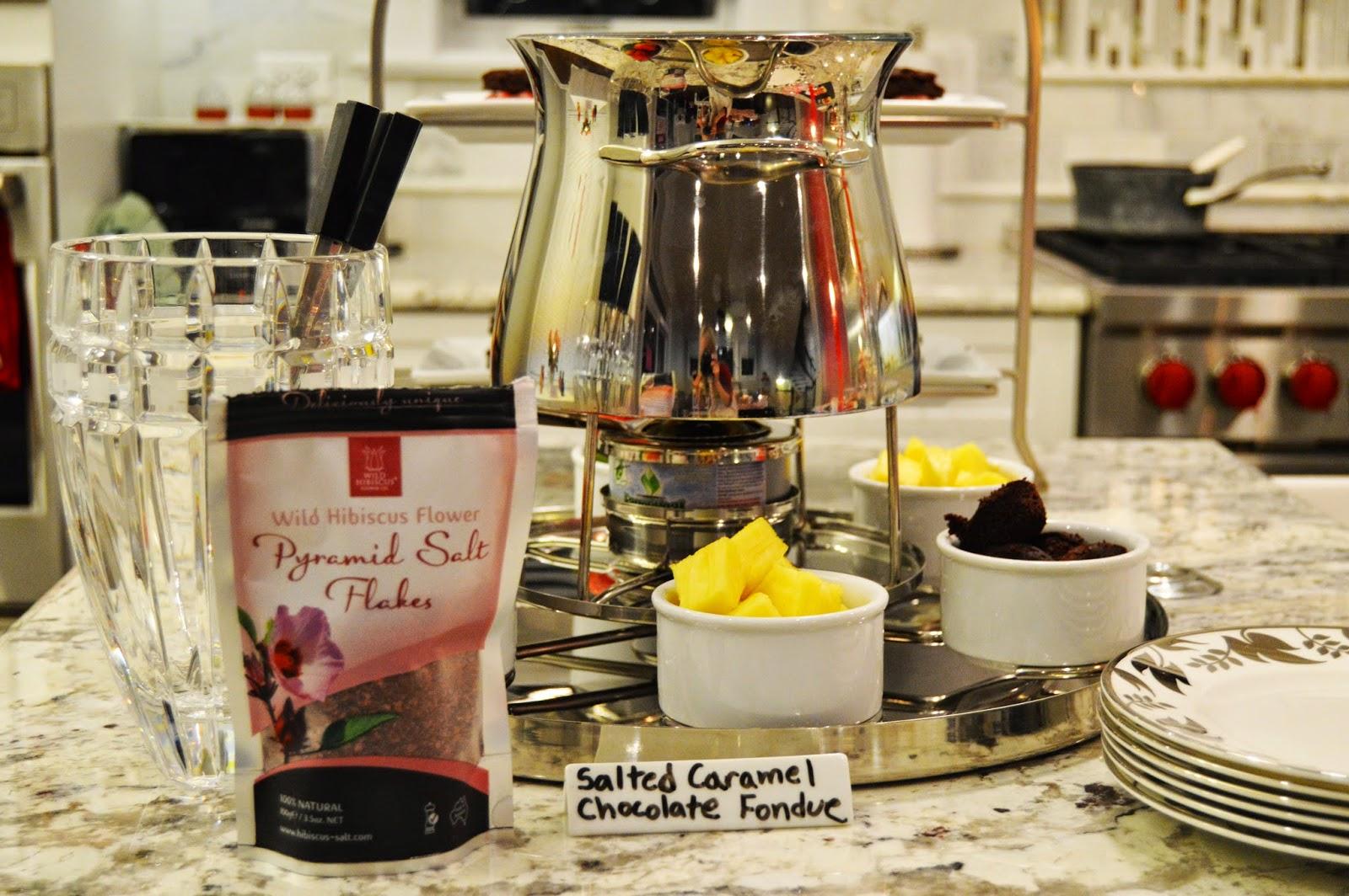 Hibiscus Salted Caramel Chocolate Fondue