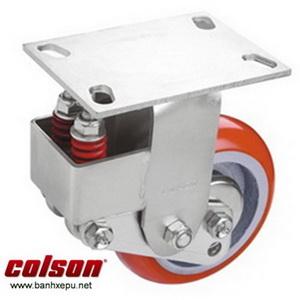 Bánh xe PU phi 200 cố định có lò xo giảm chấn Colson | SB-8508-948 banhxepu.net