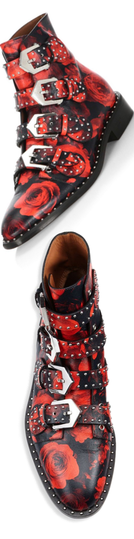 Givenchy Studded Rose Ankle Booties Red/Black