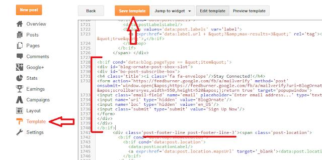 Adding html for blogger subscription box post