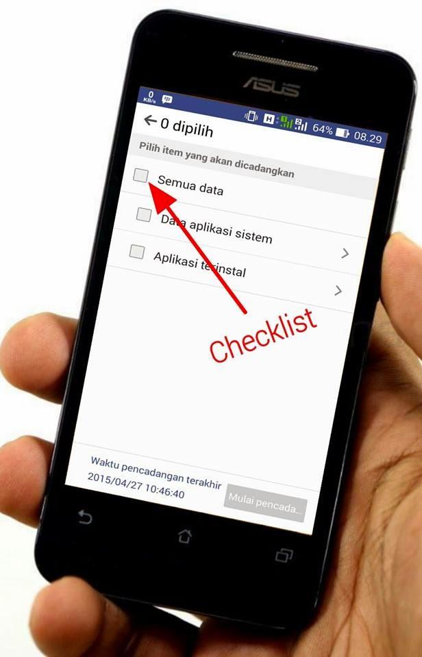 Checklist Aplikasi Asus Backup