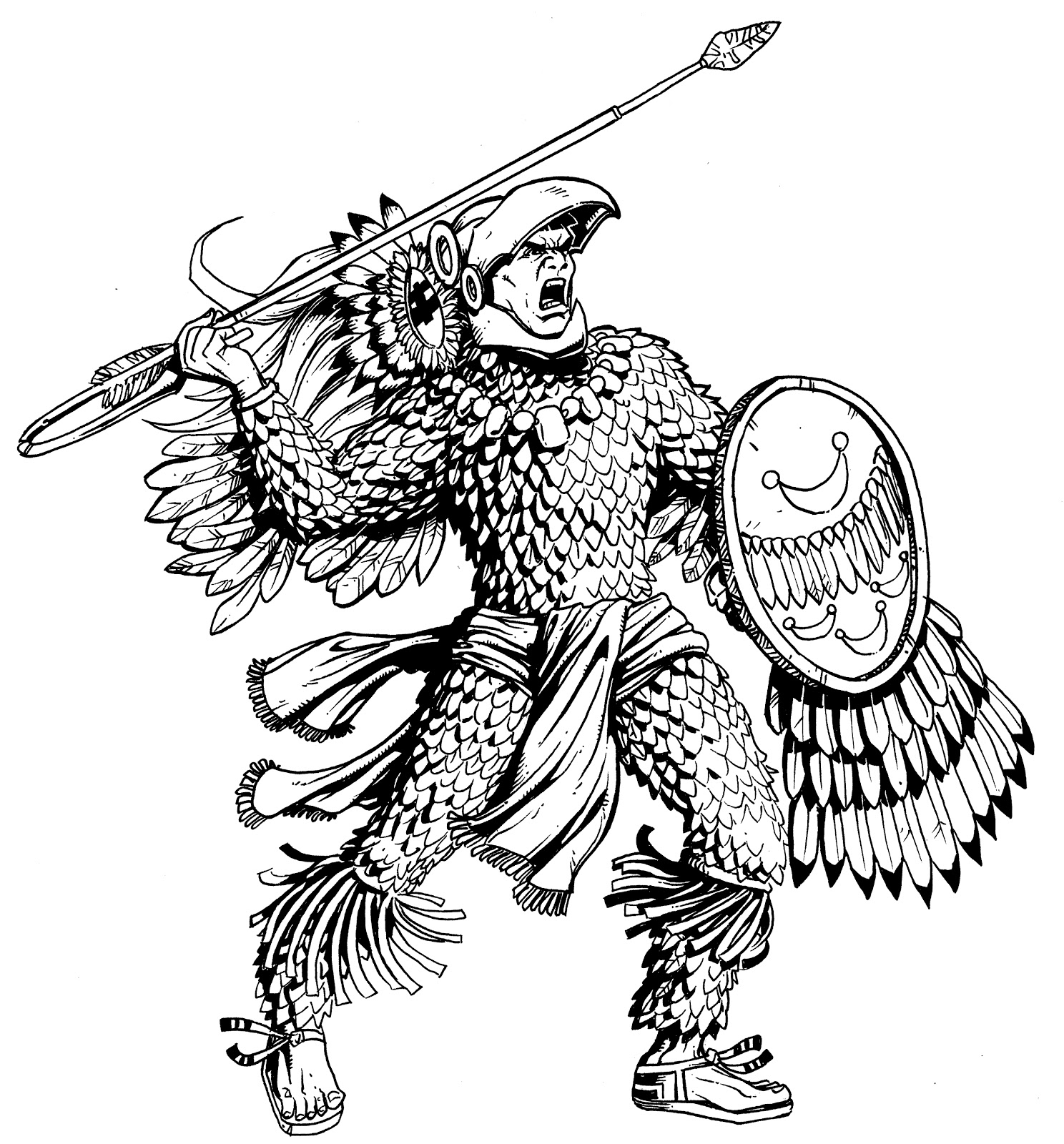 Aztec Warrior Shield Drawings Tiger Eyes Tattoo Designs
