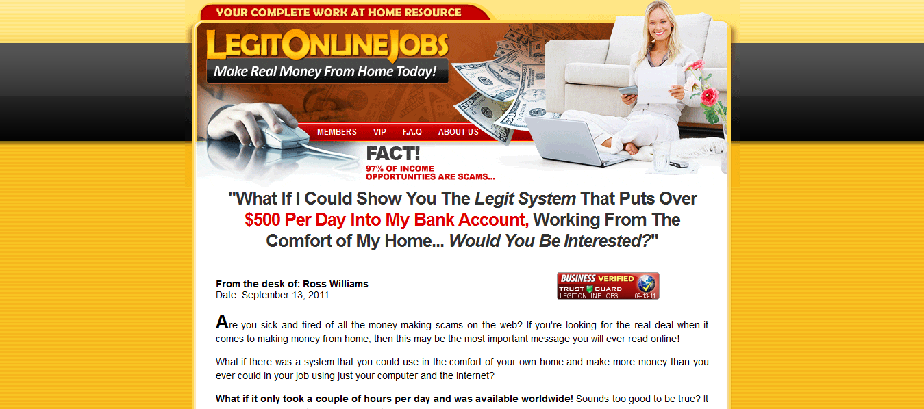 Legit online jobs is a scam