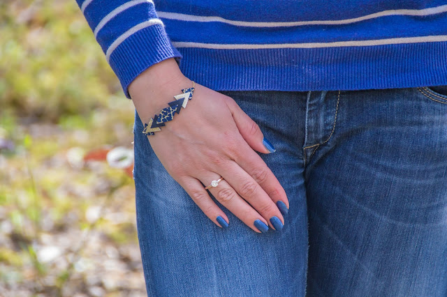 look mode bleu bracelet jean