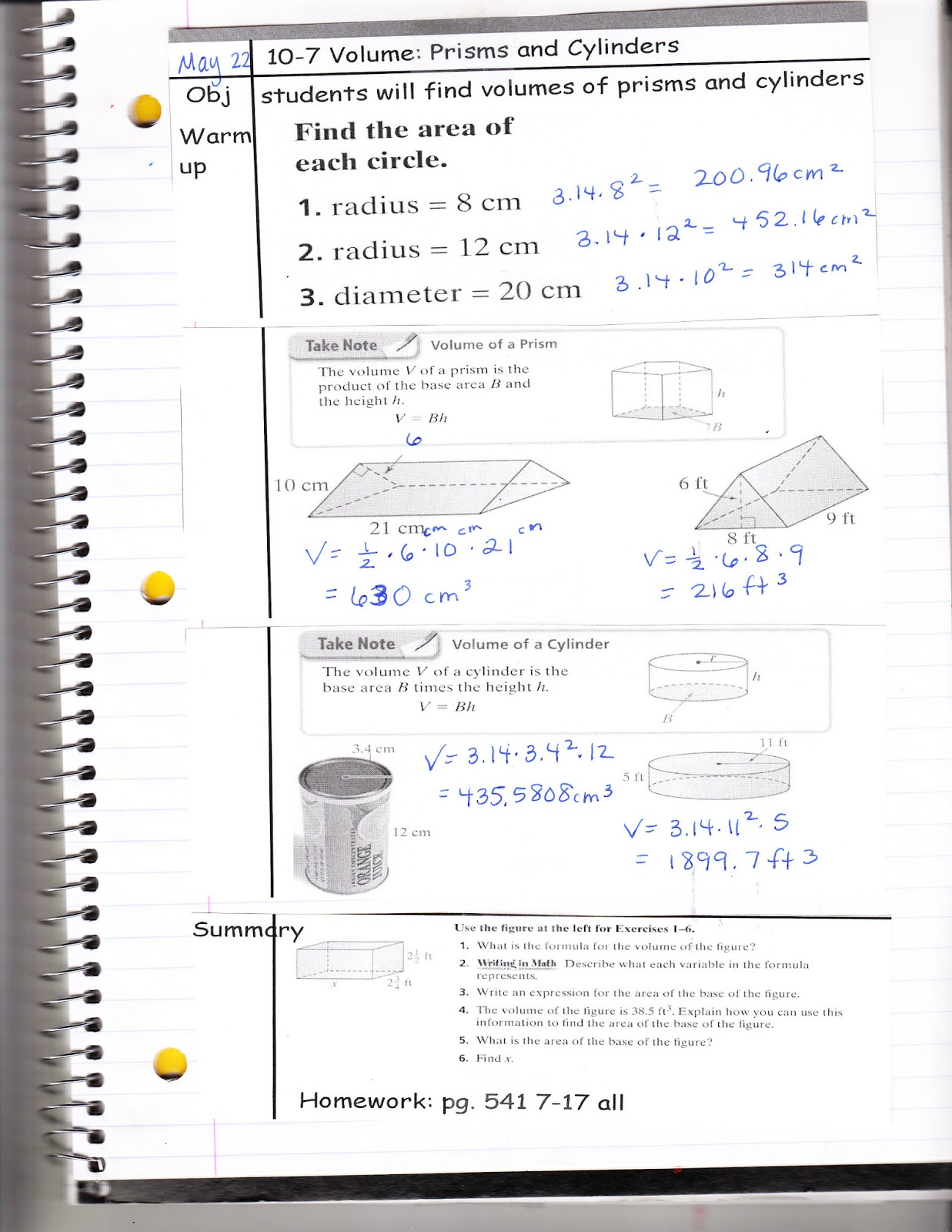 Ms Jean S Classroom Blog 10 7 Volume Prisms And Cylinders