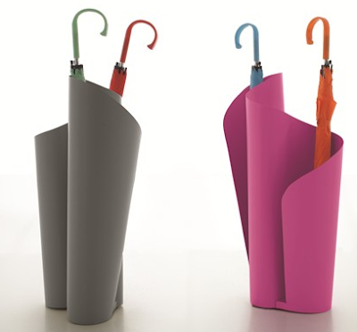 umbrella stands in gray and pink