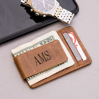 monogram wallet for cards with money clip