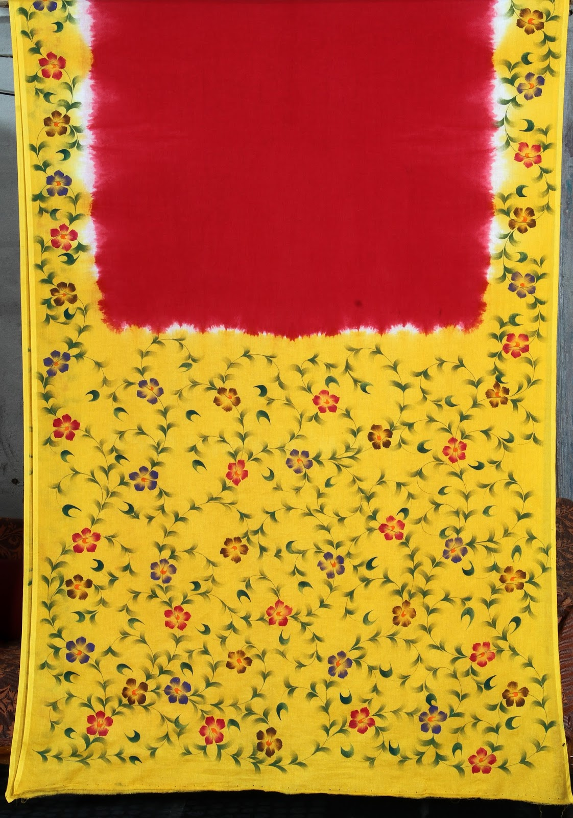 Free Hand Fabric Paintings Is Are Below Mentioned Here If You Want To See The Designs That Red Saree Design It Very Fine Look And Now Trendy