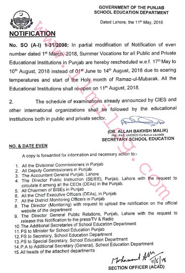 Notification Summer Vacations 2018