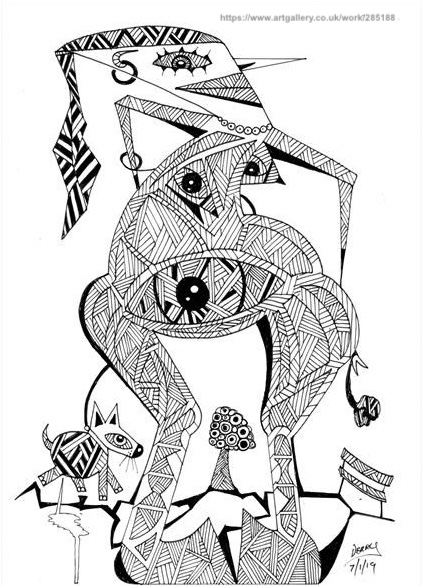 Surrealist Automatism Drawing of a Dog walking a  nude woman,