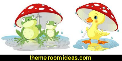 Frogs Wearing Rain Gear under Mushroom Peel and Stick Wall Decals Duck under Rain Peel and Stick Wall Decals