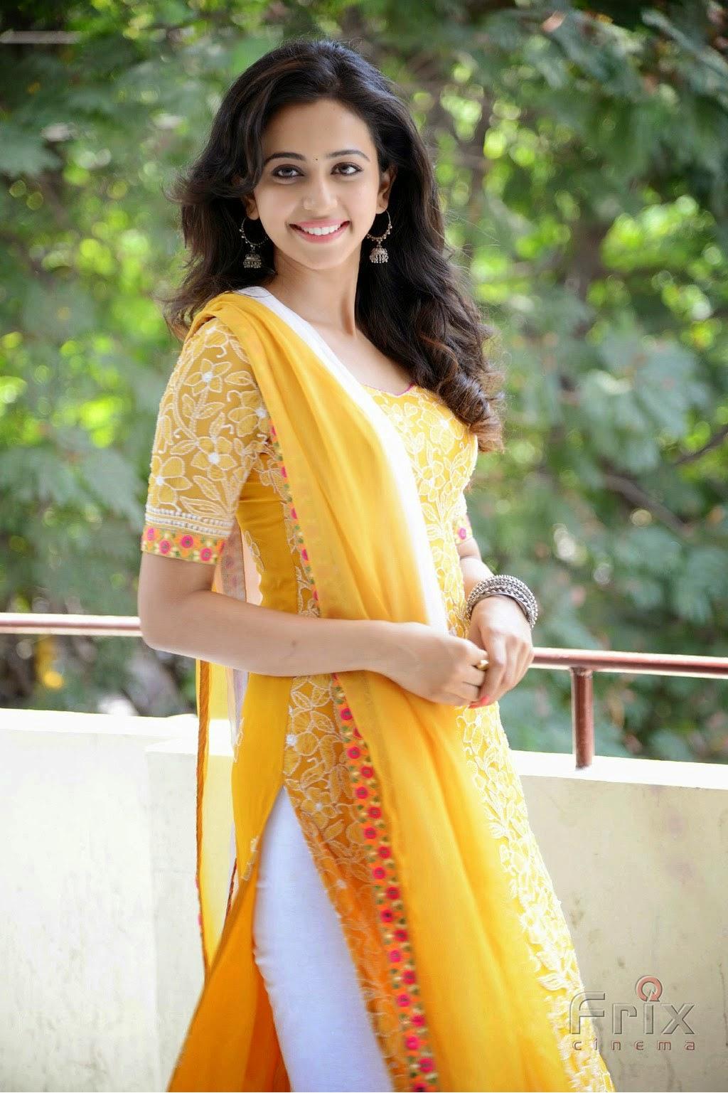 Actress Rahul preet singh in yellow dress pics