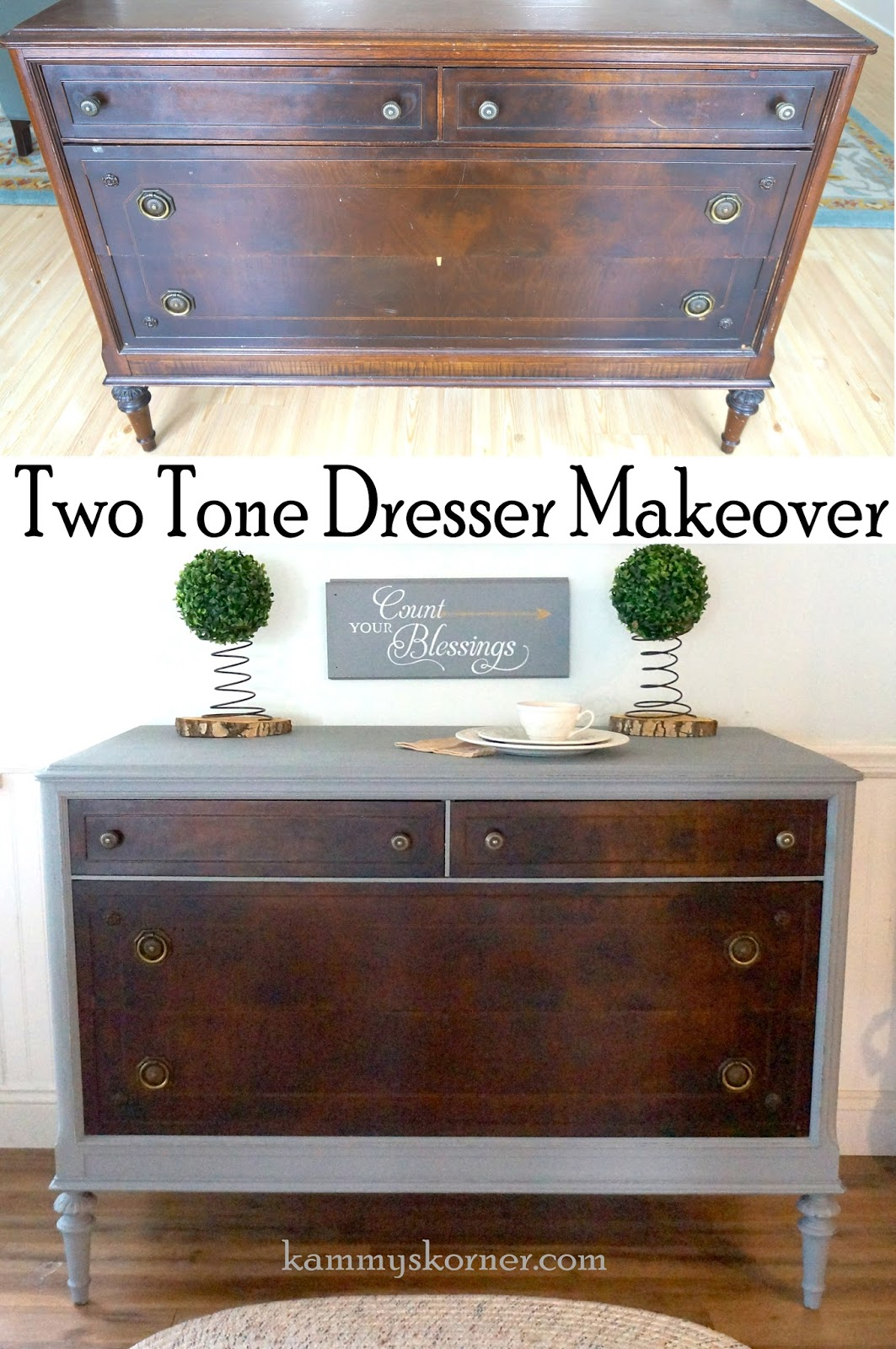 Two Tone Painted Furniture Shabby Chic Kammys Korner Tried Car Wax On Painted Dresser Makeover Kammys Korner Kammys Korner Tried Car Wax On Painted Dresser Makeover