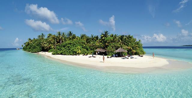 Ilhas Maldivas - Exemplo de porção seca entre as águas