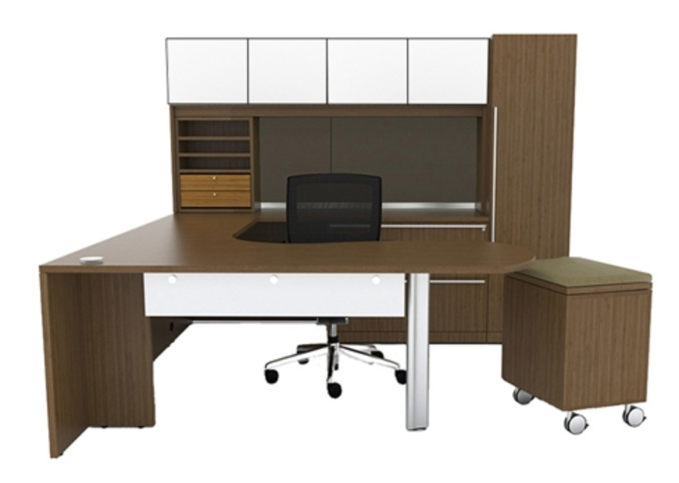 Verde Workstation with Glass Accents by Cherryman