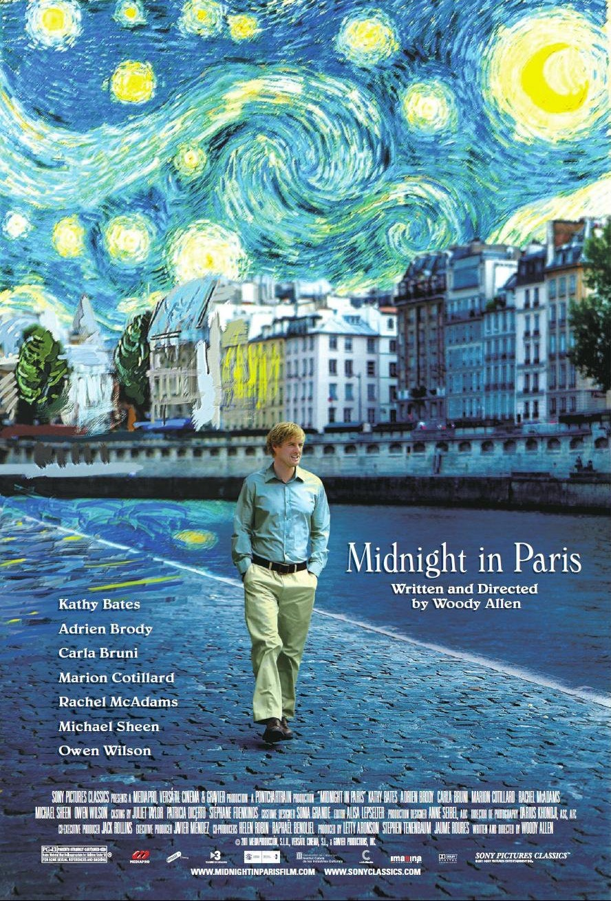 Poster for with Owen Wilson in blue shirt and beige slacks walking along a Paris street, all cast in blue, the sky above rendered like Van Gogh's painting 'Starry Night' in swirling blues with radiant yellow spots