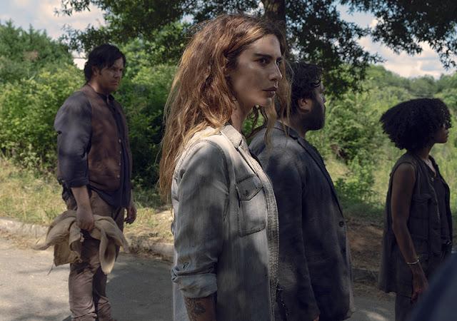 Eugene Porter (Josh McDermitt), Magna (Nadia Hilker), Luke (Dan Fogler) e Connie (Lauren Ridloff) nell'episodio 6