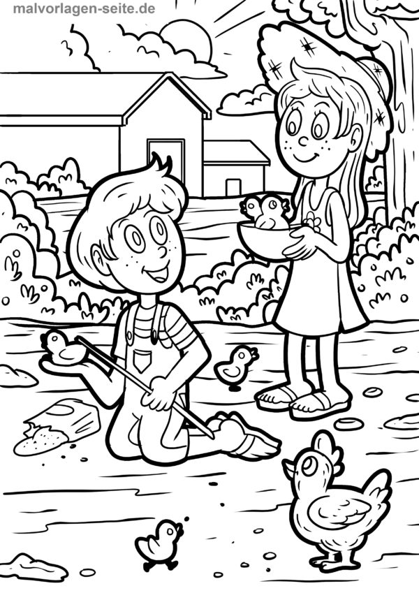 Malvorlage-Bauernhof-und-Kinder