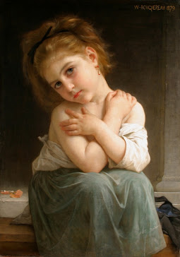 "William Bouguereau ""CHILLY GIRL"" óleo sobre tela, 1879"