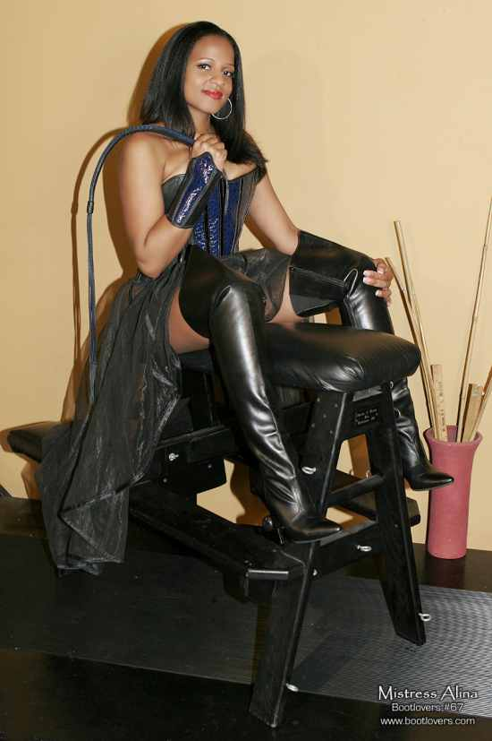 mistress alina, bootlovers.com, smile, boots, whip, femdom, dominatrix, mistress, spanking bench
