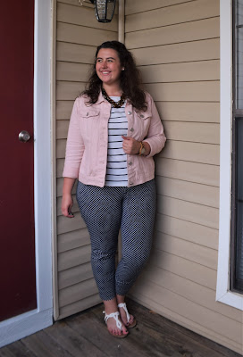 an outfit with a striped tee, polka dot pants, a denim jacket, and sandals