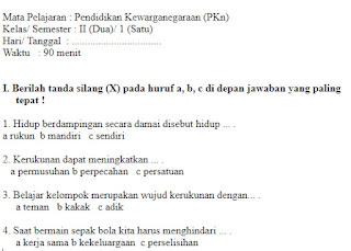 Soal-Ulangan-Ujian-kelas-2-SD-PKN-Akhir-Semester-1-UAS-PKN-kelas-2-SD