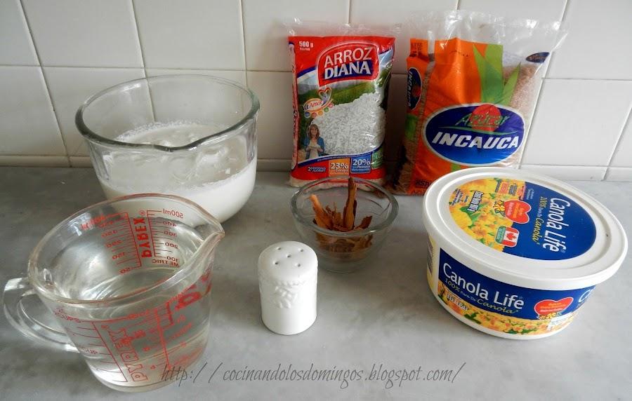 Ingredientes para arroz con leche