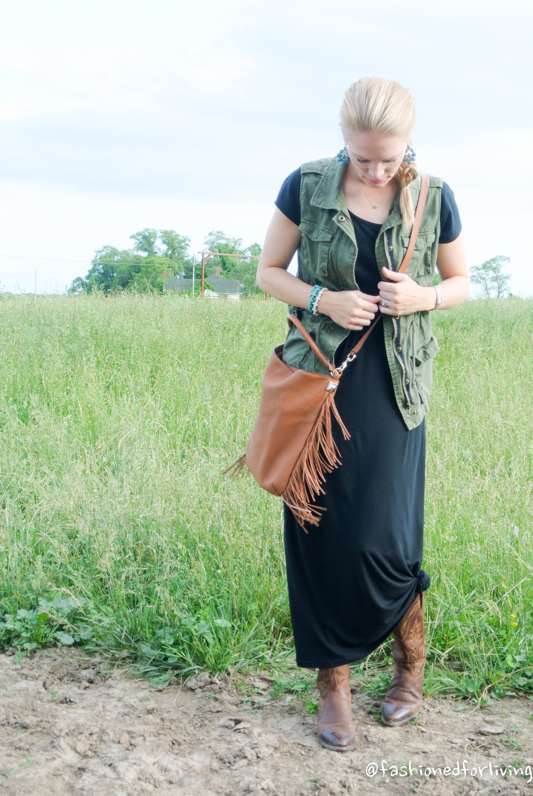 fashioned for living maxi dress and cowboy boots
