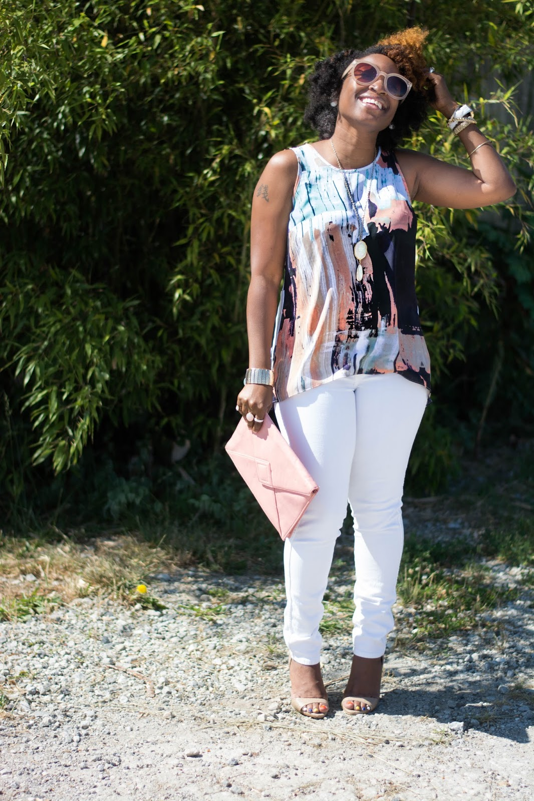 Atlanta style influencer, Atlanta blogger, Atlanta Stylist, Atlanta street fashion, street style, black girl rock, black girl magic, natural girls rock, natural hair, 4c hair chick, thrifted fashion, hm skinny jeans, black blogger, brown girl blogger, shoedazzle, fashion blogger, stylist, black girls killing it, mossimo, aldo sunnies, nude heels, white jeans, petite style