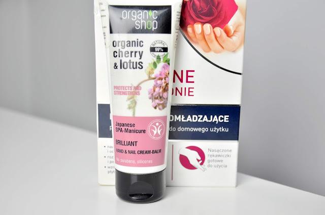 krem do rąk organic shop cherry&lotus japanese spa manicure brilliant hand&nail cream balm, rękawiczki lirene dermoprogram idealne dłonie