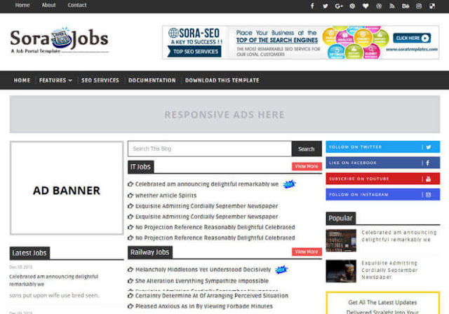 List of Best Blogger Templates For Job Sites, free blogger templates for job portal, Free blogger templates 2019.