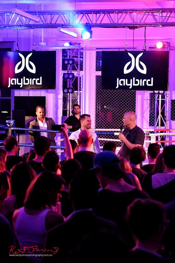Judd Armstrong speaking at the Jaybird Freedom launch in Kings Cross Sydney. Photo by Kent Johnson for Street Fashion Sydney.