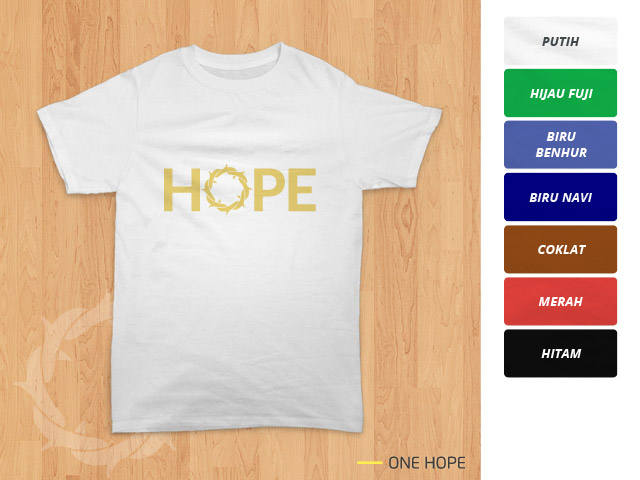 Tampilan kaos 'One Hope' berwarna putih
