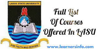 LIST OF COURSES OFFERED IN LASU 2018