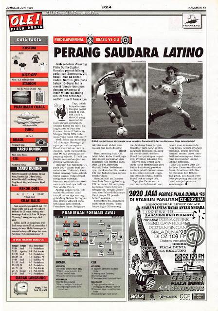 WORLD CUP 1998 BRASIL VS CHILE RONALDO VS ZAMORANO