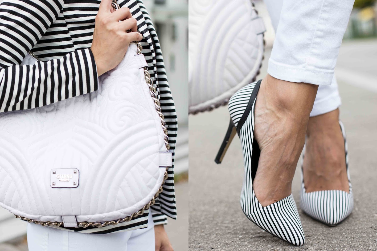 stripes in black and white Tasche Schuhe