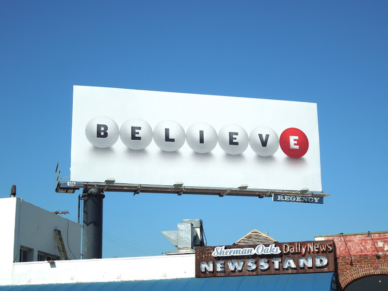 Believe lottery teaser billboard