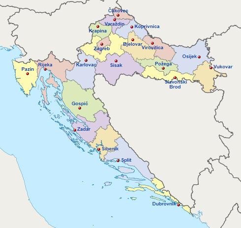 Pembagian wilayah administratif Kroasia