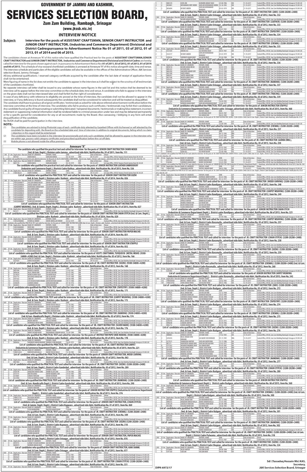 JKSSB Interview Notification for Assistant Craftsman, Sr. Craft Instructor & Jr. Craft Instructor Posts