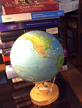 New globe, powered by room lights, rotates 2-3 RPM (Source: Palmia Observatory)