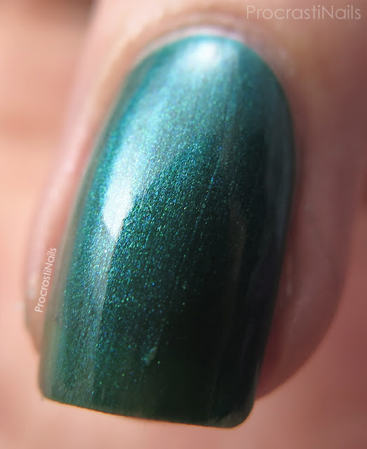 Macro of Dollarama Mariposa Green Shimmer Nail Polish