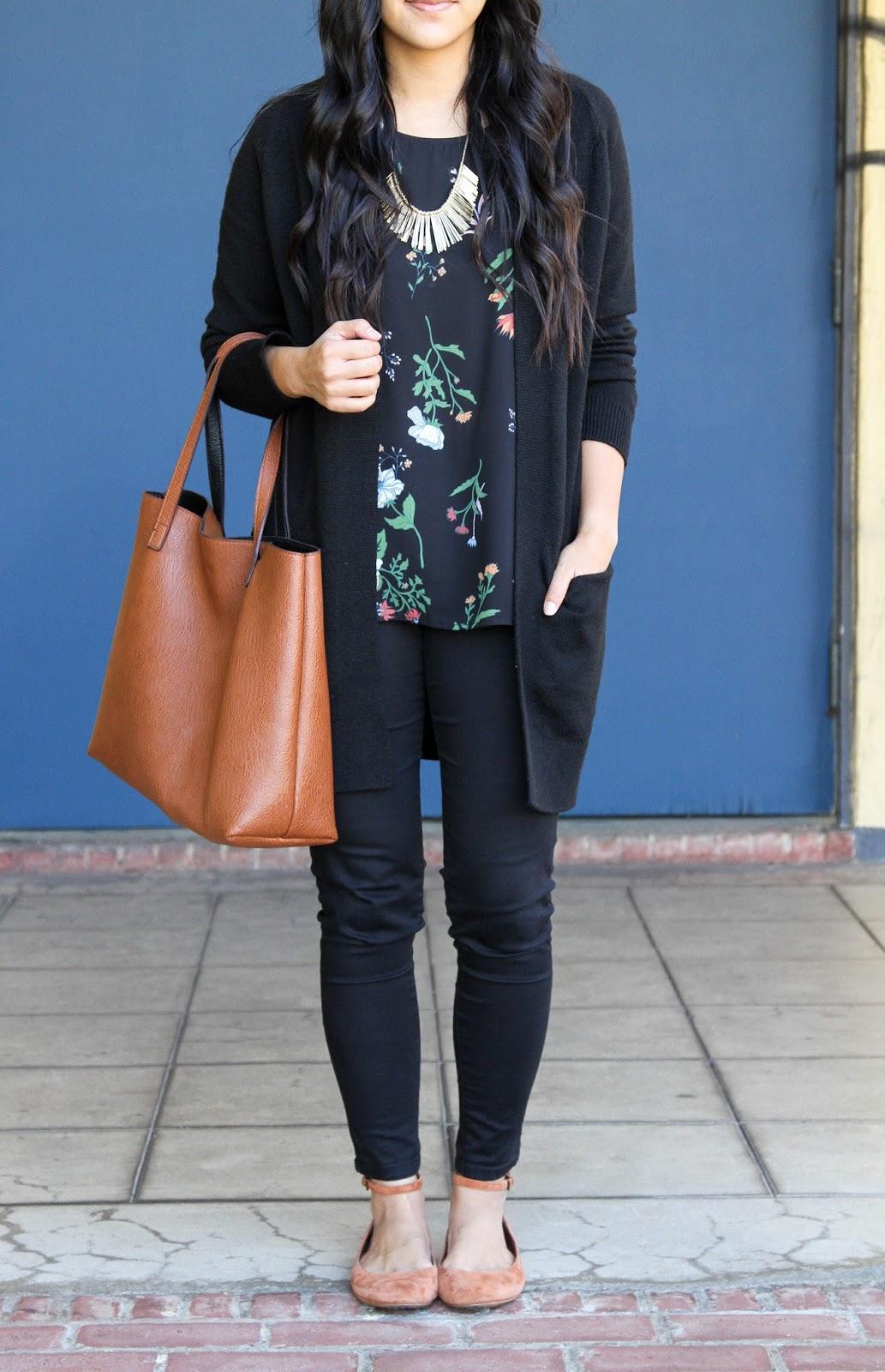 Black Cardigan + Floral Shirt + Tote Bag + Statement Necklace