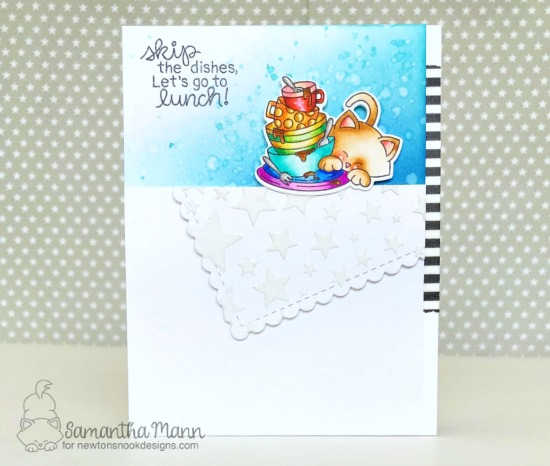 Cat Card with Dishes by Samantha Mann | Newton Cleans Up Stamp Set by Newton's Nook Designs #newtonsnook #handmade