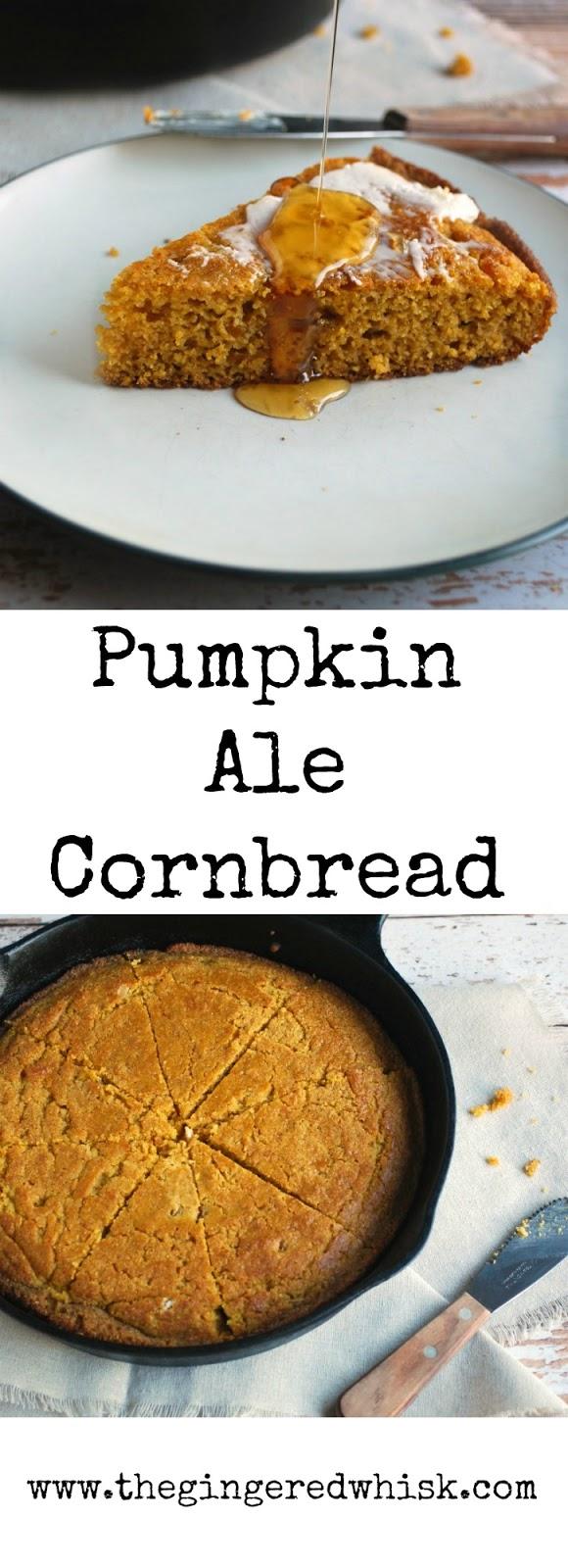 Pumpkin Ale Cornbread in a skillet