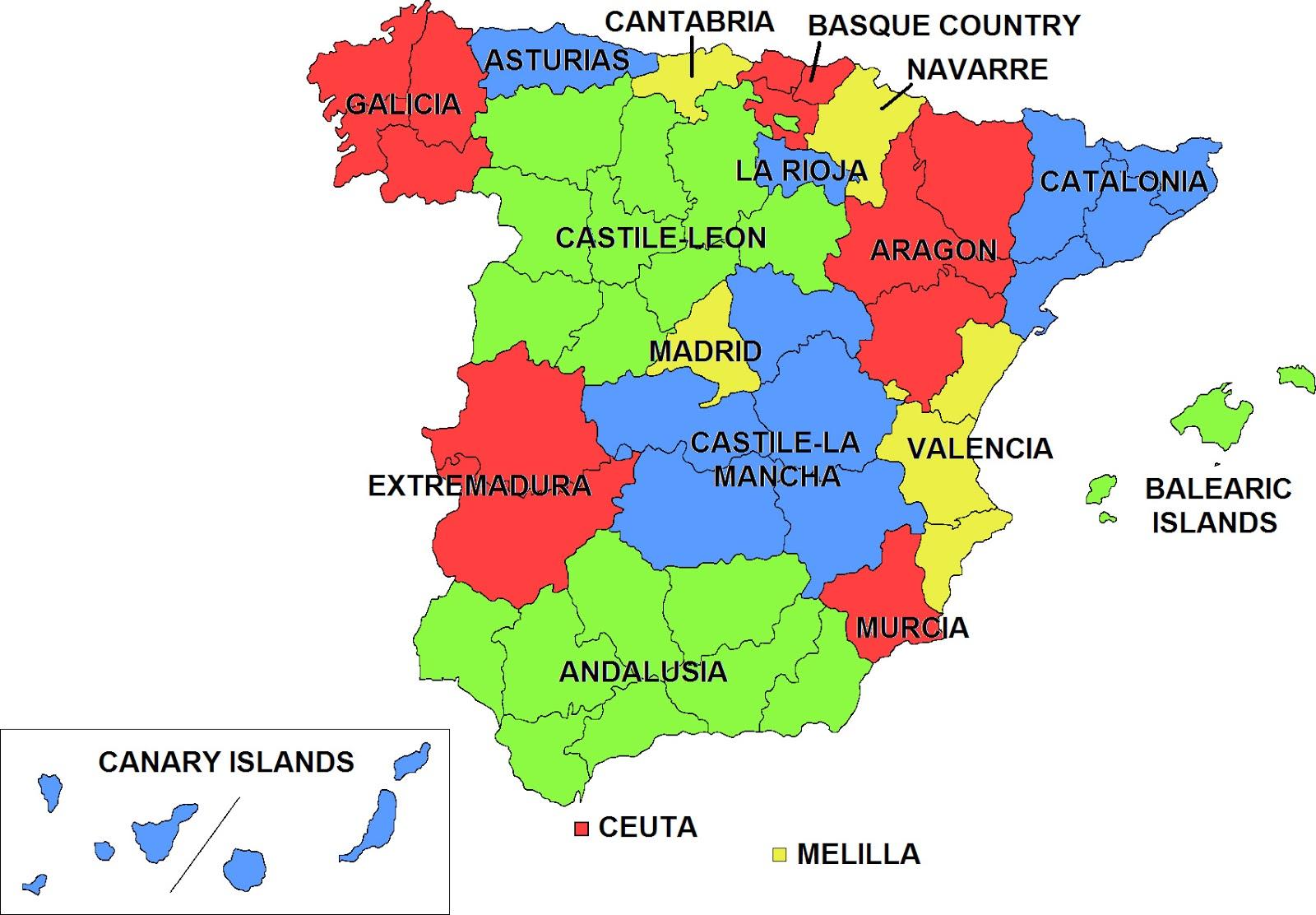 Spain Autonomous Communities Map Ireland Map